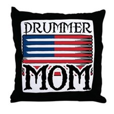 Drummer Mom USA Flag Drum Throw Pillow