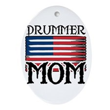 Drummer Mom USA Flag Drum Oval Ornament