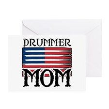 Drummer Mom USA Flag Drum Greeting Cards (Package