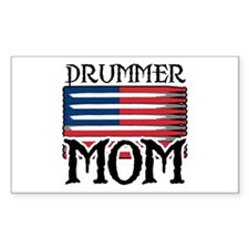 Drummer Mom USA Flag Drum Rectangle Decal