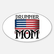 Drummer Mom USA Flag Drum Oval Decal
