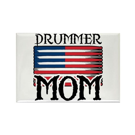 Drummer Mom USA Flag Drum Rectangle Magnet
