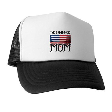 Drummer Mom USA Flag Drum Trucker Hat