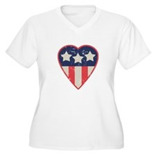 Simple Patriotic Heart Womens Plus Size V-Neck Tee