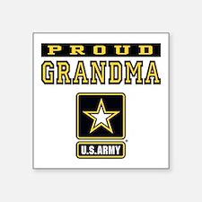 "Proud Grandma U.S. Army Square Sticker 3"" x 3"""