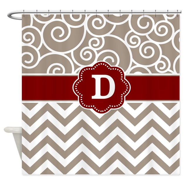 Tan red damask chevron monogram shower curtain by for Kitchen colors with white cabinets with monogram stickers for cups