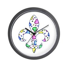 Baby Fleur de lis Hearts Wall Clock