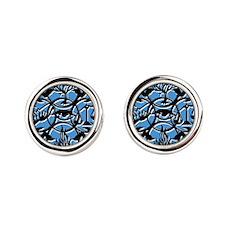 Divergent Faction Art Blue Round Cufflinks