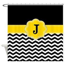 Black Yellow Chevron Monogram Shower Curtain