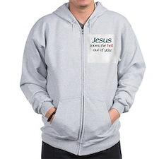 Jesus loves the hell Zip Hoodie