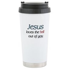 Jesus loves the hell Thermos Mug