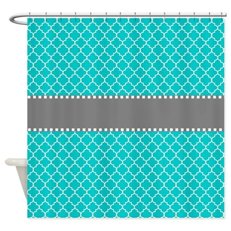 Teal Gray Quatrefoil Shower Curtain By CupcakesandSprinklesBirthdayTees