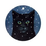 Black Cat Snowing Ornament (Round)