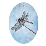 Dragonfly Christmas Oval Ornament