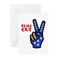 Peace Out Greeting Cards