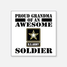 "Proud U.S. Army Grandma Square Sticker 3"" x 3"""