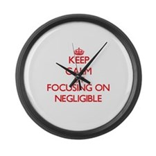 Keep Calm by focusing on Negligib Large Wall Clock