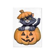 Kitty in a Pumpkin 5'x7'Area Rug