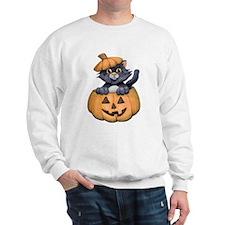 Kitty in a Pumpkin Sweatshirt