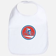 Cyclist Riding Mountain Bike Circle Retro Bib