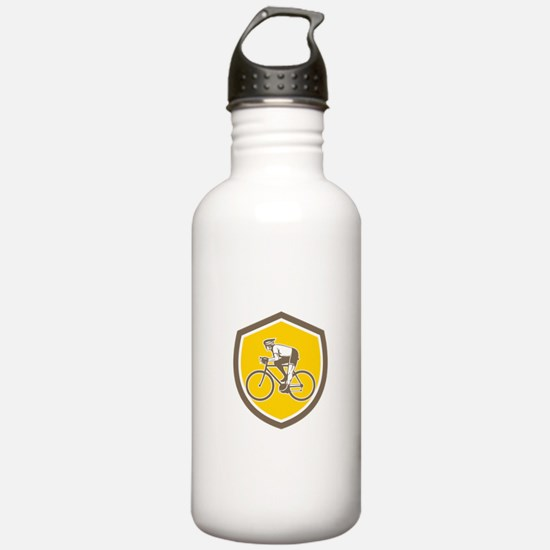 Cyclist Riding Mountain Shield Retro Water Bottle