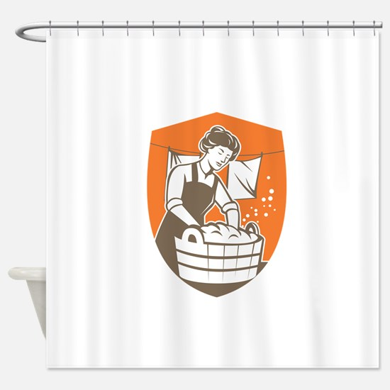 Housewife Washing Laundry Vintage Retro Shower Cur