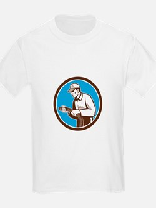 Home Insulation Technician Retro Circle T-Shirt