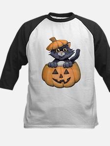 Kitty in a Pumpkin Baseball Jersey