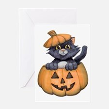 Kitty in a Pumpkin Greeting Cards