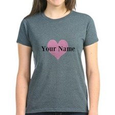 Girly Pink Heart And Personalized Name T-Shirt