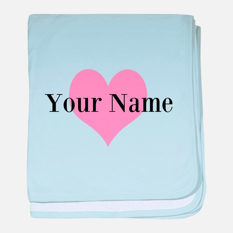 Pink heart and personalized name baby blanket