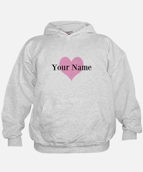 Pink heart and personalized name Hoodie