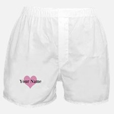 Pink heart and personalized name Boxer Shorts