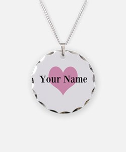 Pink Heart Personalized Necklace