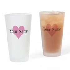 Pink heart and personalized name Drinking Glass
