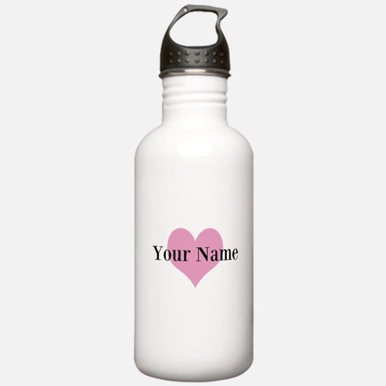 Pink heart and personalized name Water Bottle