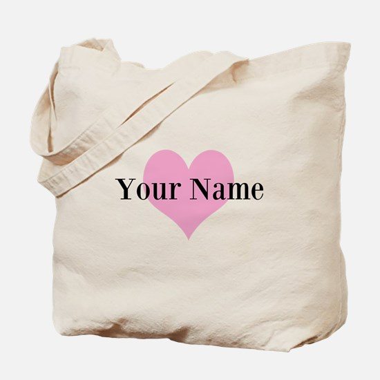 Pink Heart And Personalized Name Monogram Tote Bag
