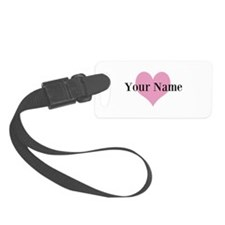 Pink heart and personalized name Luggage Tag
