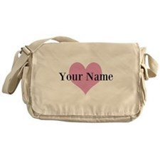 Pink heart and personalized name Messenger Bag