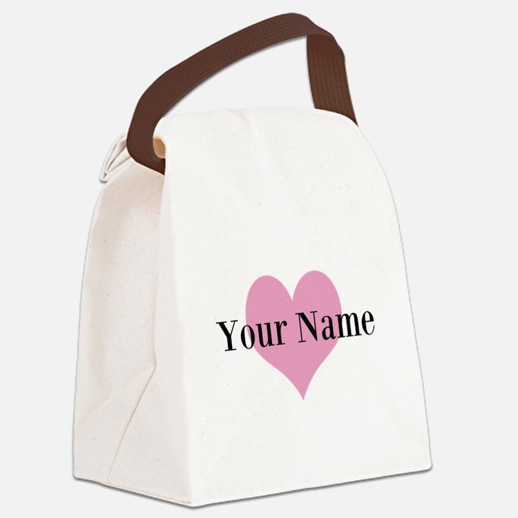 Pink heart and personalized name Canvas Lunch Bag