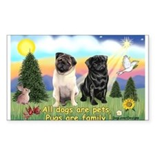 Pugs are Family (2) Rectangle Decal