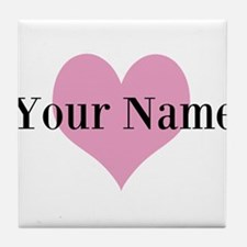 Pink heart and personalized name Tile Coaster