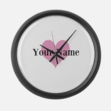 Pink heart and personalized name Large Wall Clock