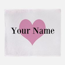 Pink heart and personalized name Throw Blanket