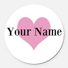 Pink heart and personalized name Round Car Magnet