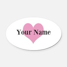 Pink heart and personalized name Oval Car Magnet