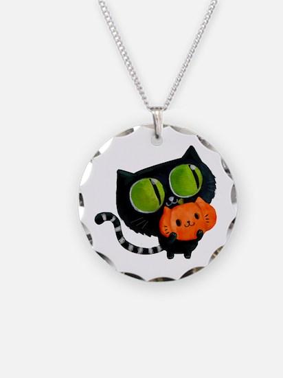 Cute Black Cat with pumpkin Necklace