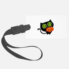 Cute Black Cat with pumpkin Luggage Tag