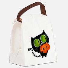 Cute Black Cat with pumpkin Canvas Lunch Bag