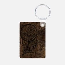 Clockwork Collage Brown Keychains